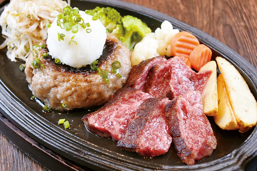 飲めるハンバーグ180g・国産の黒毛和牛100gのステーキのお得なコンボ。